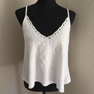 White tank with floral design